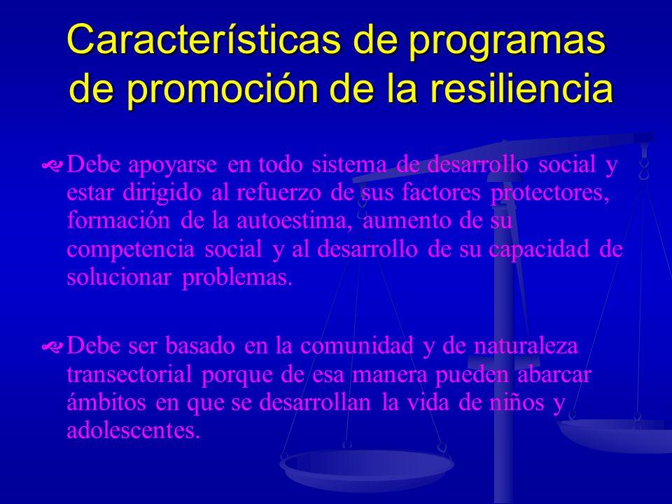 Características de programas de promoción de la resiliencia