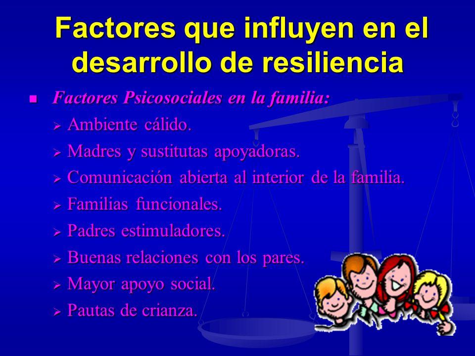 Factores que influyen en el desarrollo de resiliencia