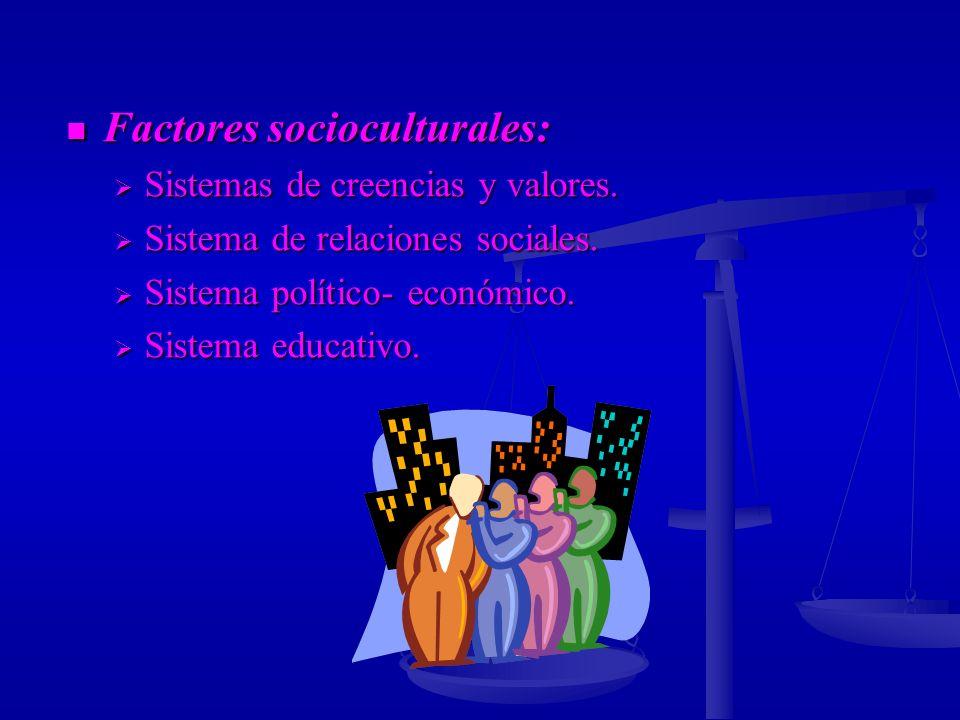 Factores socioculturales: