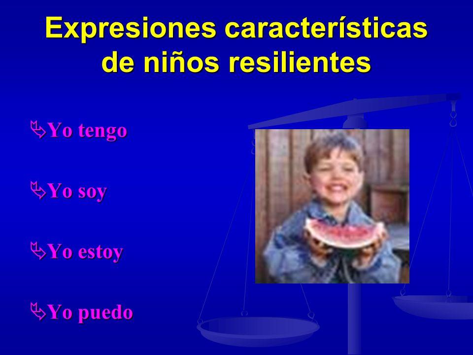 Expresiones características de niños resilientes