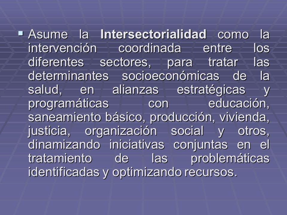 Asume la Intersectorialidad como la intervención coordinada entre los diferentes sectores, para tratar las determinantes socioeconómicas de la salud, en alianzas estratégicas y programáticas con educación, saneamiento básico, producción, vivienda, justicia, organización social y otros, dinamizando iniciativas conjuntas en el tratamiento de las problemáticas identificadas y optimizando recursos.