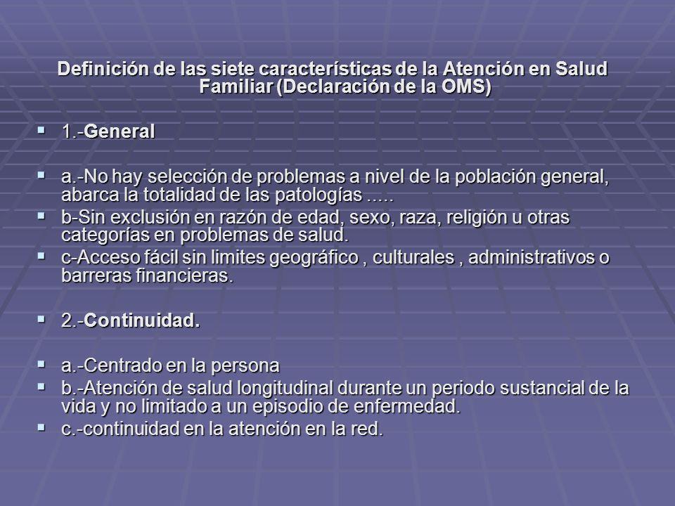 Definición de las siete características de la Atención en Salud Familiar (Declaración de la OMS)