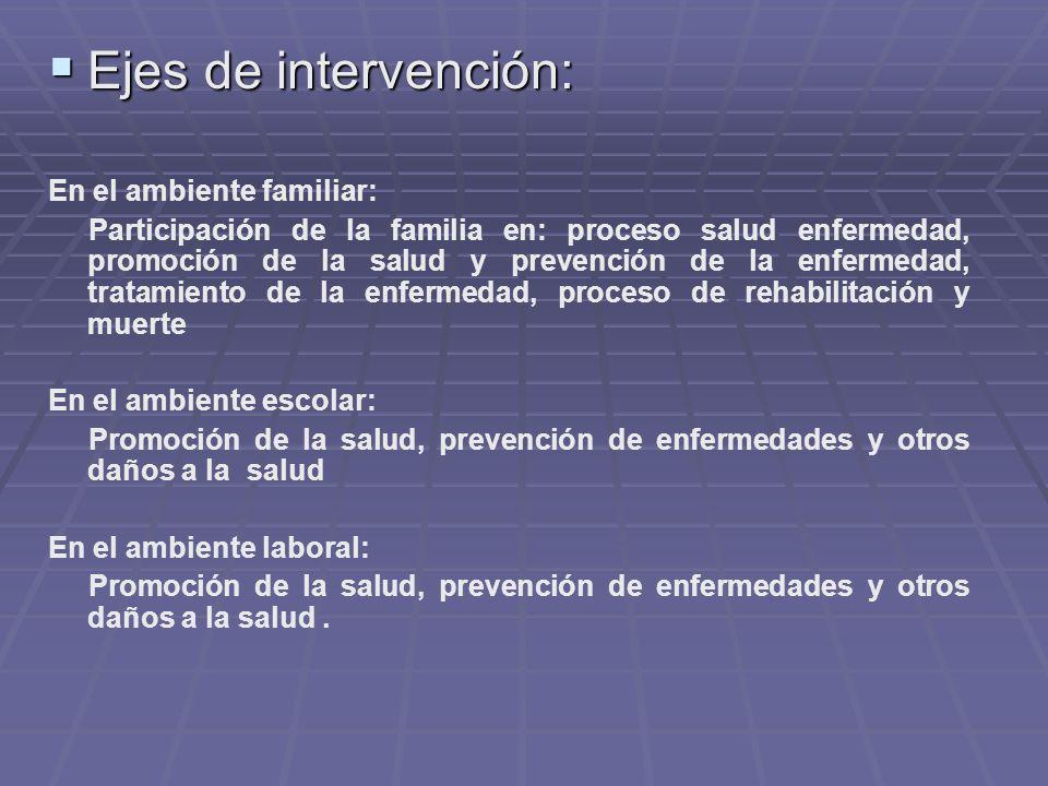 Ejes de intervención: En el ambiente familiar:
