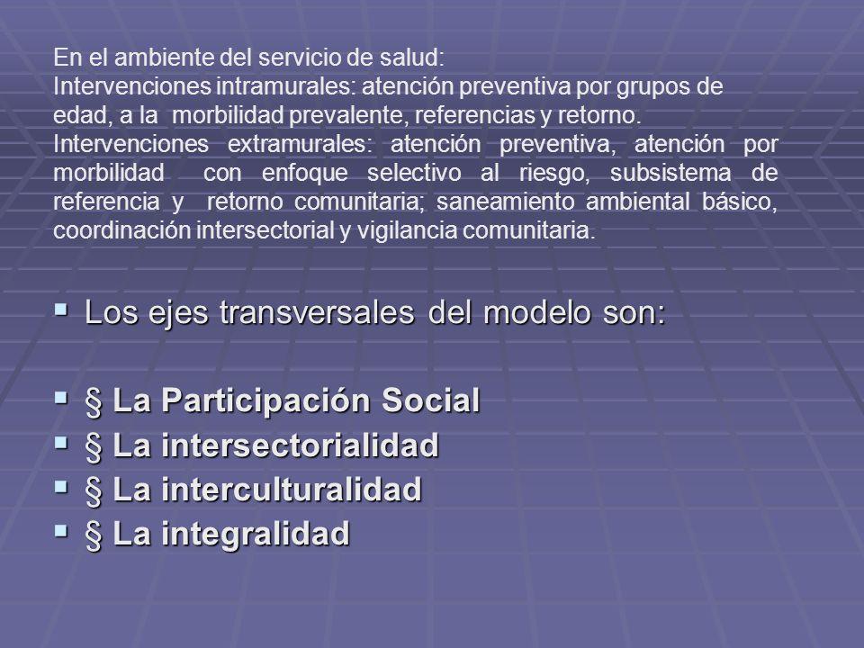 Los ejes transversales del modelo son: § La Participación Social