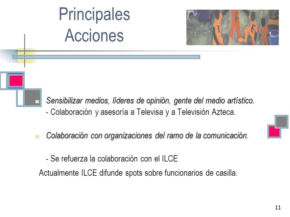 Principales Acciones Sensibilizar medios, líderes de opinión, gente del medio artístico. - Colaboración y asesoría a Televisa y a Televisión Azteca.