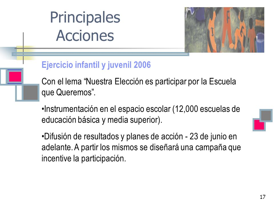 Principales Acciones Ejercicio infantil y juvenil 2006