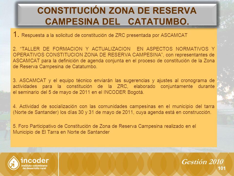 CONSTITUCIÓN ZONA DE RESERVA CAMPESINA DEL CATATUMBO.