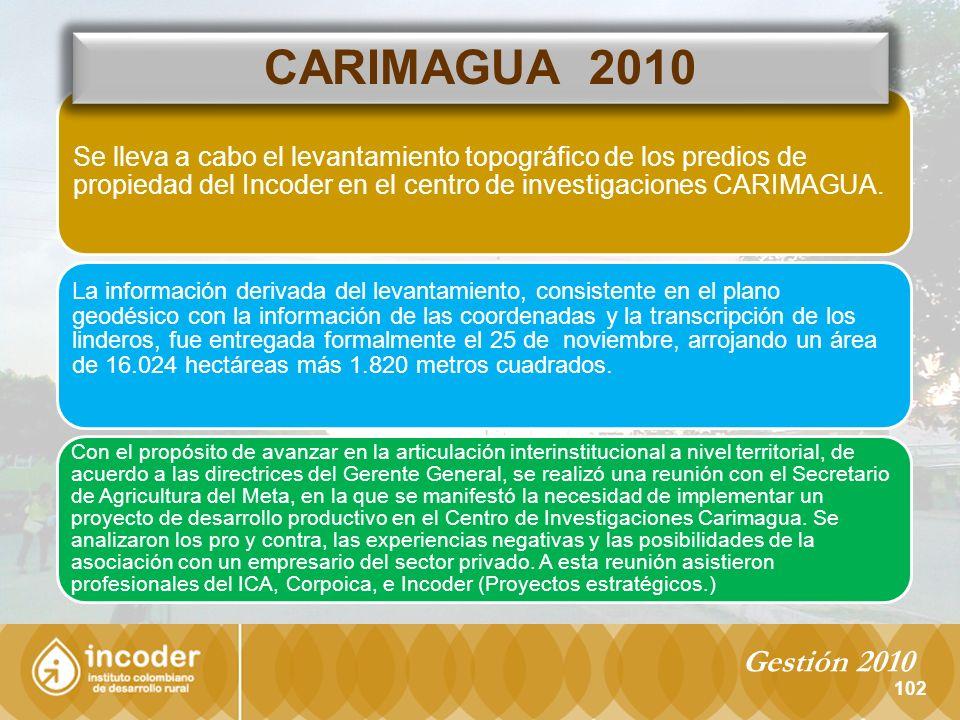 CARIMAGUA 2010 Se lleva a cabo el levantamiento topográfico de los predios de propiedad del Incoder en el centro de investigaciones CARIMAGUA.