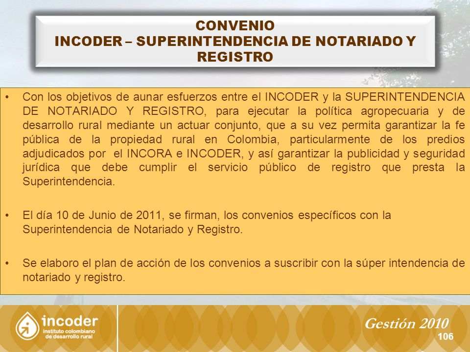 INCODER – SUPERINTENDENCIA DE NOTARIADO Y REGISTRO
