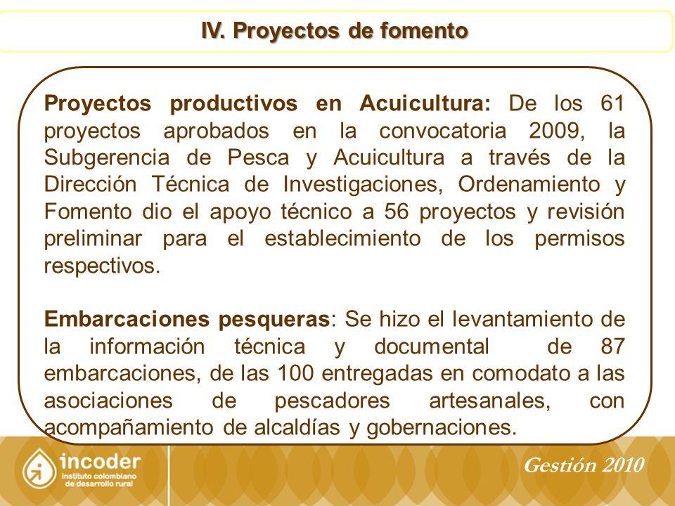 IV. Proyectos de fomento
