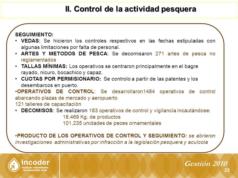 II. Control de la actividad pesquera