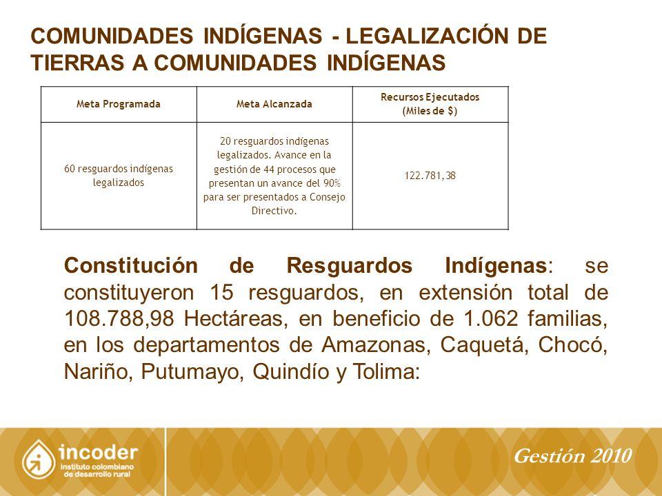 60 resguardos indígenas legalizados
