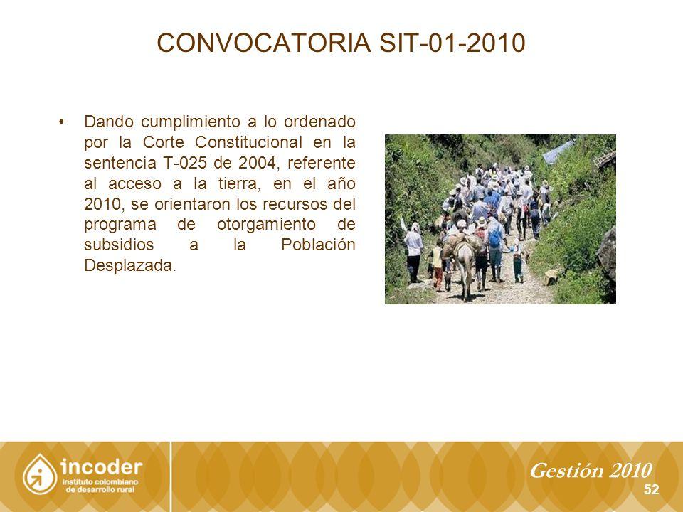 CONVOCATORIA SIT-01-2010 Gestión 2010