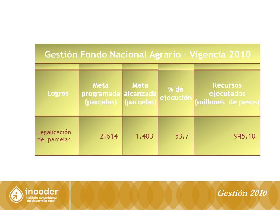 Gestión Fondo Nacional Agrario - Vigencia 2010