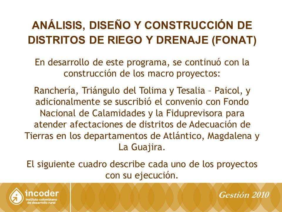 ANÁLISIS, DISEÑO Y CONSTRUCCIÓN DE DISTRITOS DE RIEGO Y DRENAJE (FONAT)