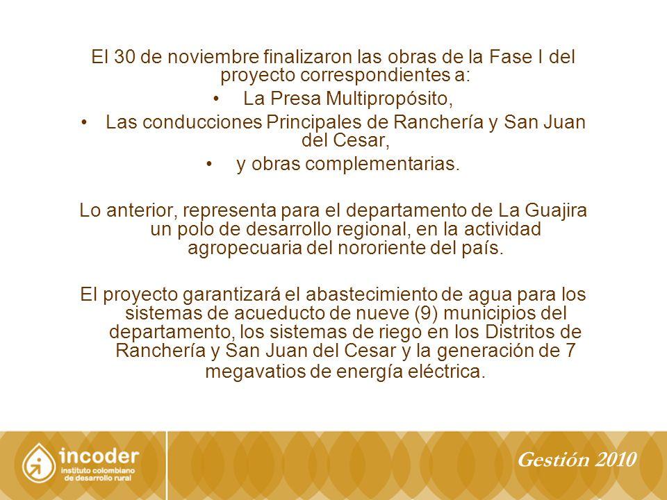 El 30 de noviembre finalizaron las obras de la Fase I del proyecto correspondientes a: