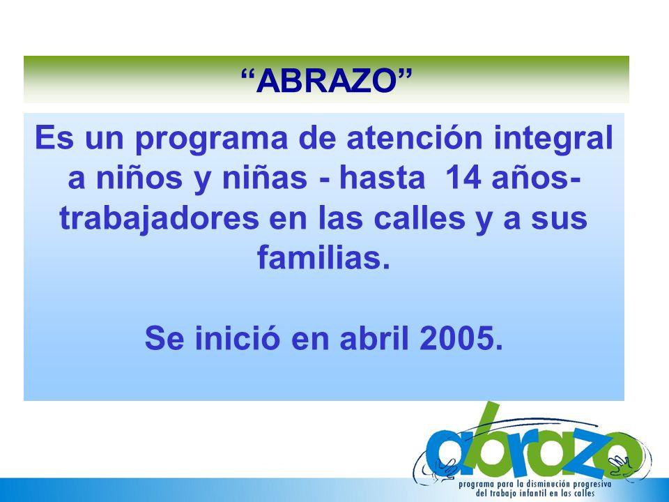 ABRAZO Es un programa de atención integral a niños y niñas - hasta 14 años- trabajadores en las calles y a sus familias.