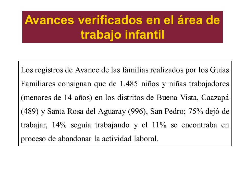 Avances verificados en el área de trabajo infantil