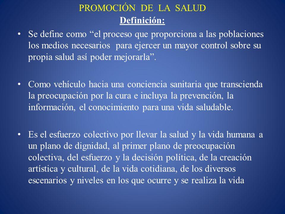 PROMOCIÓN DE LA SALUD Definición: