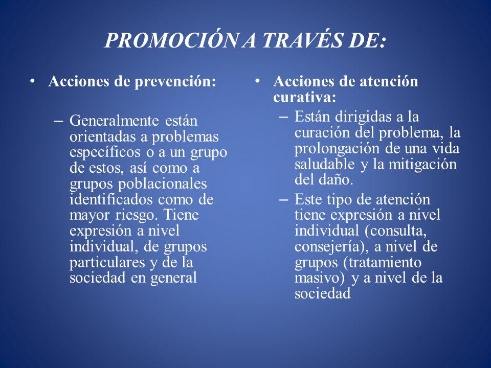 PROMOCIÓN A TRAVÉS DE: Acciones de prevención: