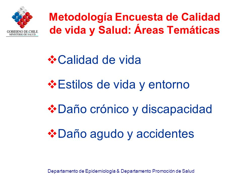 Metodología Encuesta de Calidad de vida y Salud: Áreas Temáticas