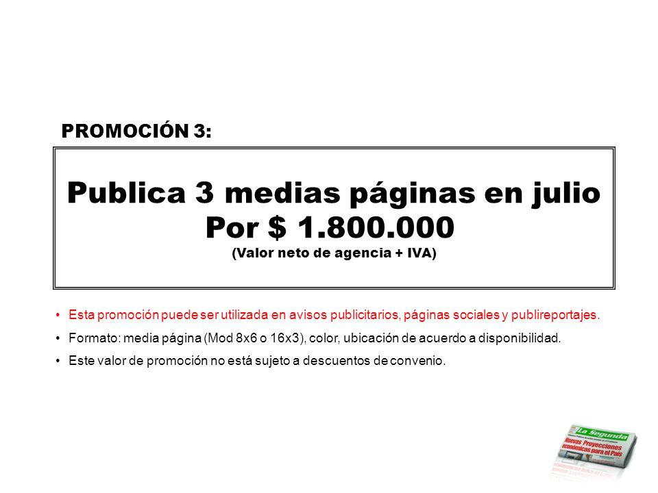 Publica 3 medias páginas en julio Por $ 1.800.000