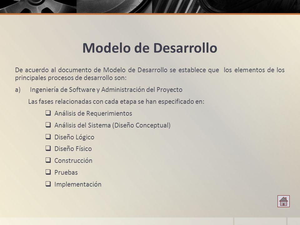 Modelo de Desarrollo De acuerdo al documento de Modelo de Desarrollo se establece que los elementos de los principales procesos de desarrollo son: