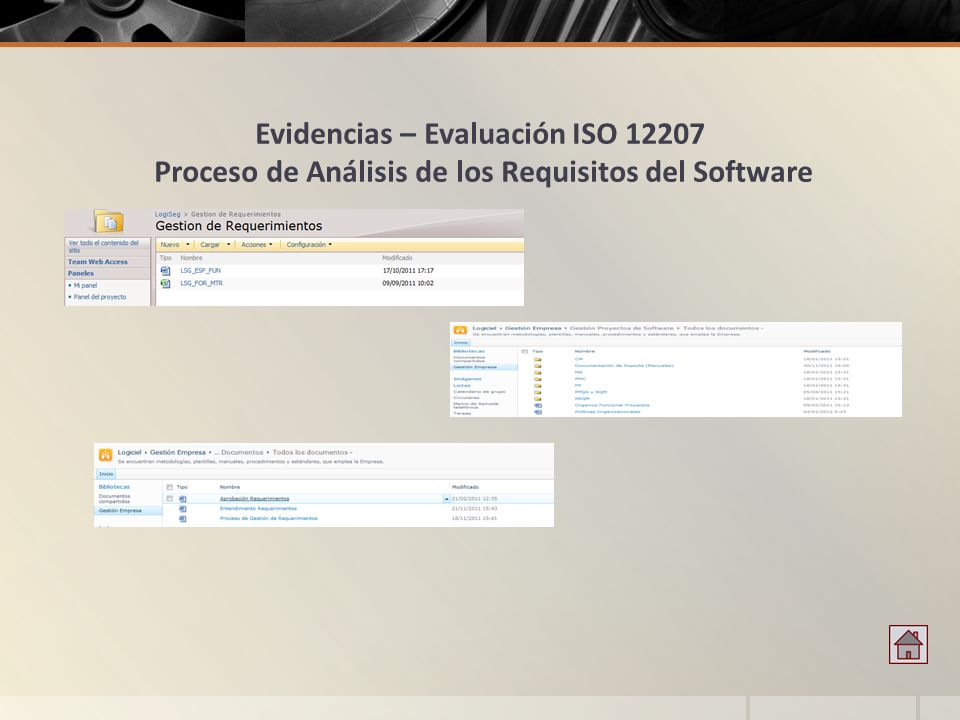 Evidencias – Evaluación ISO 12207 Proceso de Análisis de los Requisitos del Software