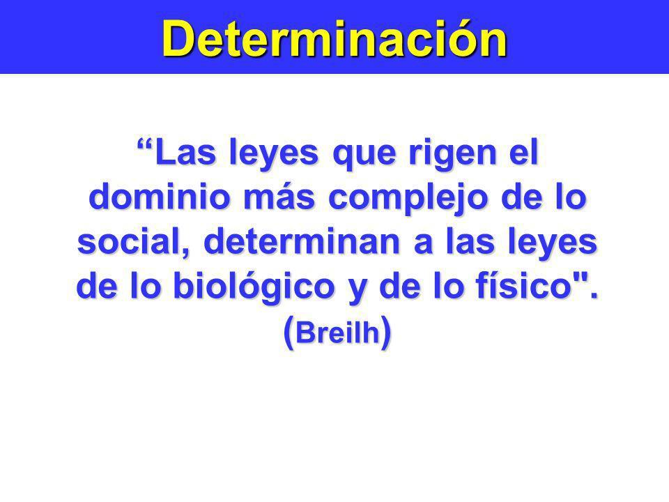 Determinación Las leyes que rigen el dominio más complejo de lo social, determinan a las leyes de lo biológico y de lo físico .