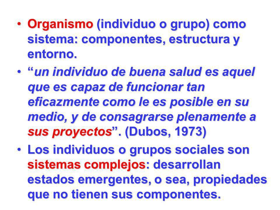 Organismo (individuo o grupo) como sistema: componentes, estructura y entorno.