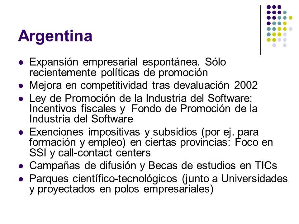 Argentina Expansión empresarial espontánea. Sólo recientemente políticas de promoción. Mejora en competitividad tras devaluación 2002.