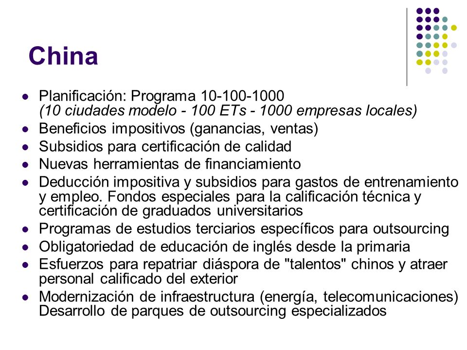 China Planificación: Programa 10-100-1000 (10 ciudades modelo - 100 ETs - 1000 empresas locales)
