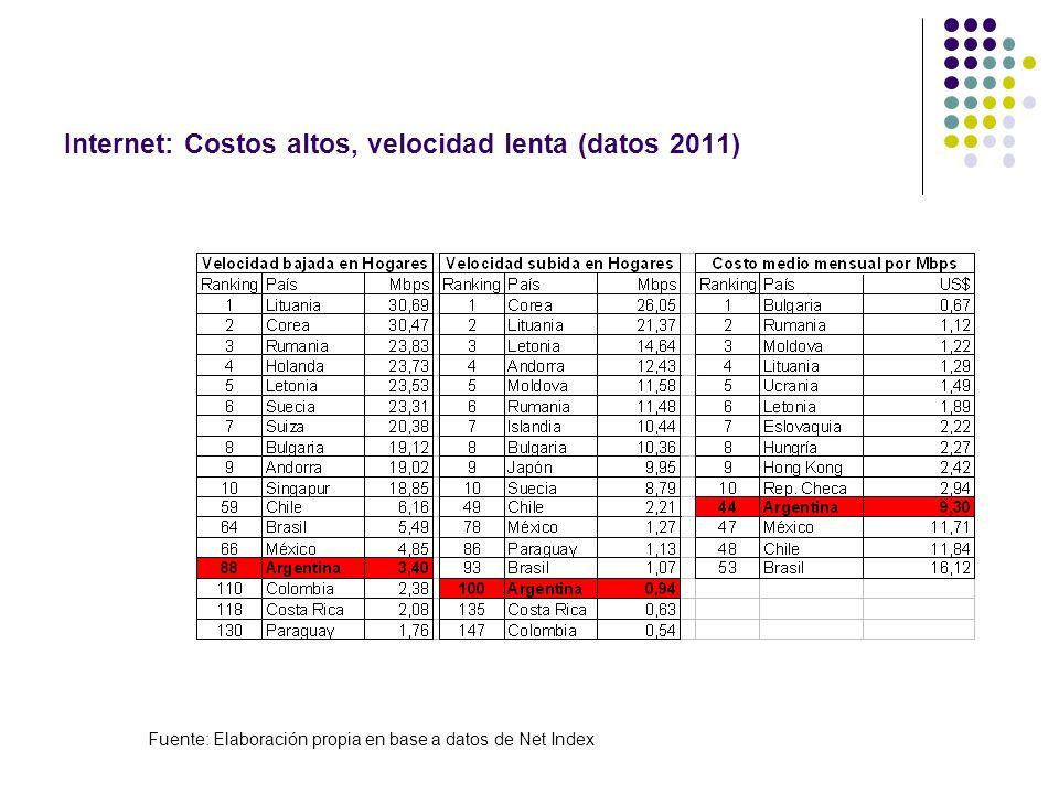 Internet: Costos altos, velocidad lenta (datos 2011)
