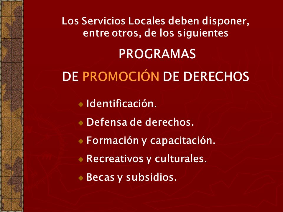 DE PROMOCIÓN DE DERECHOS