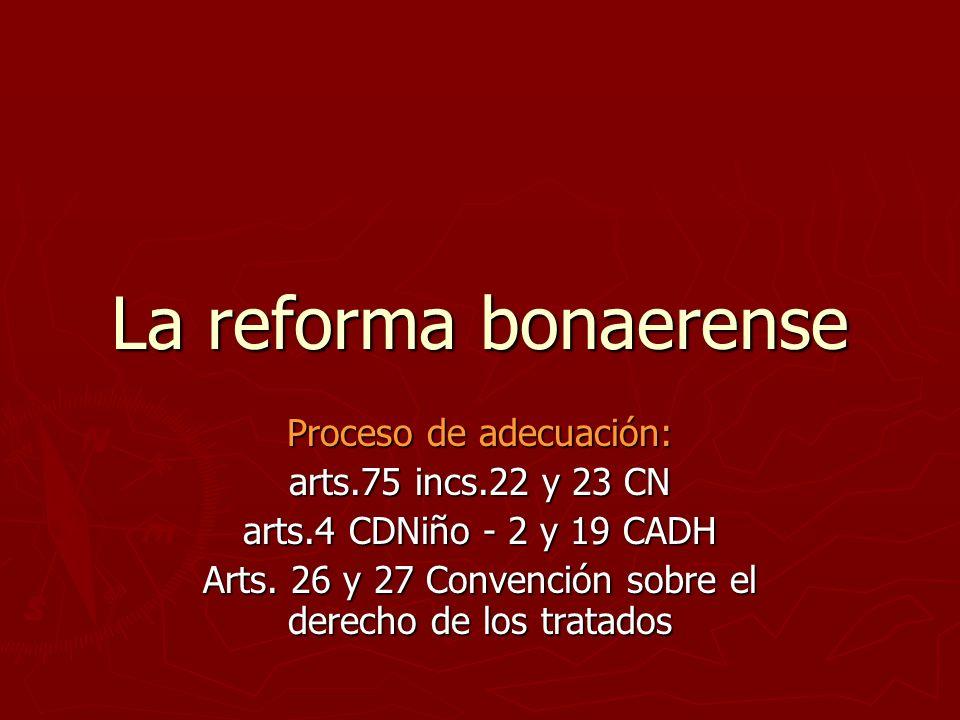 La reforma bonaerense Proceso de adecuación: arts.75 incs.22 y 23 CN