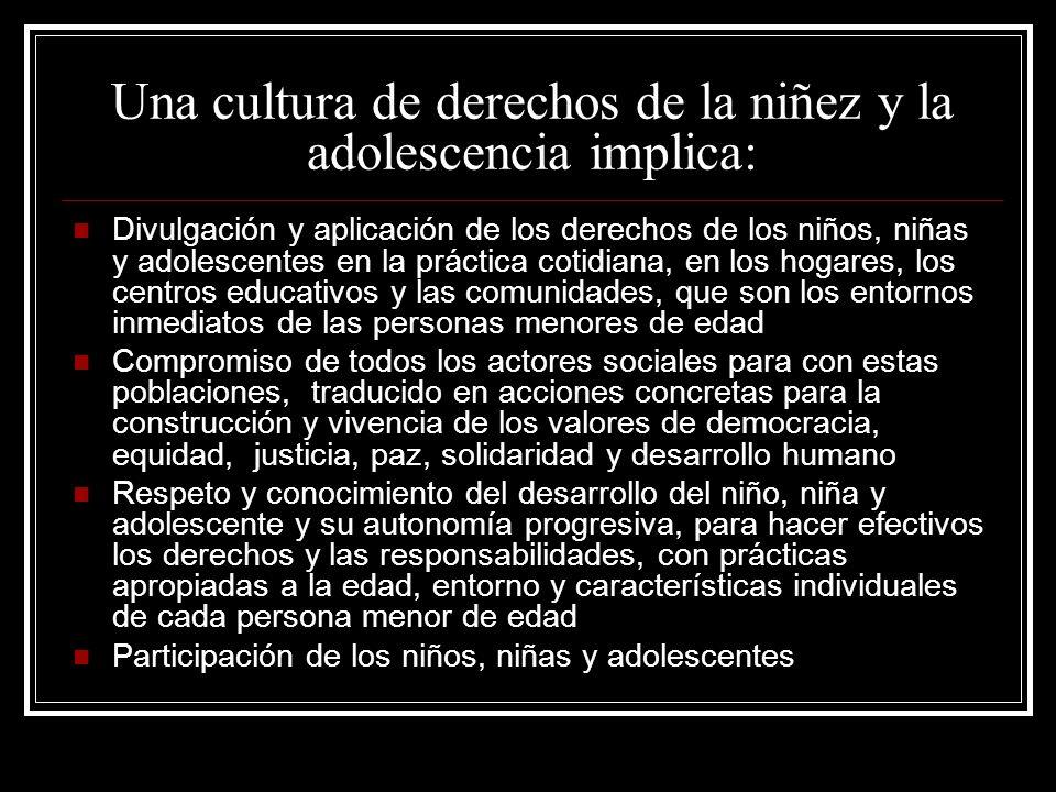 Una cultura de derechos de la niñez y la adolescencia implica: