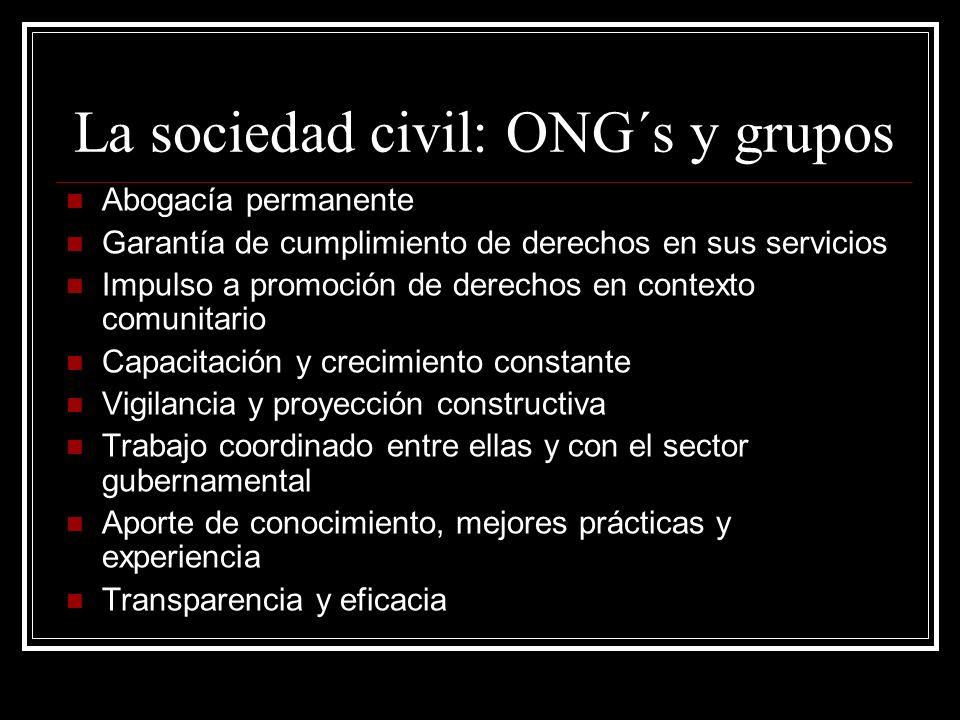 La sociedad civil: ONG´s y grupos
