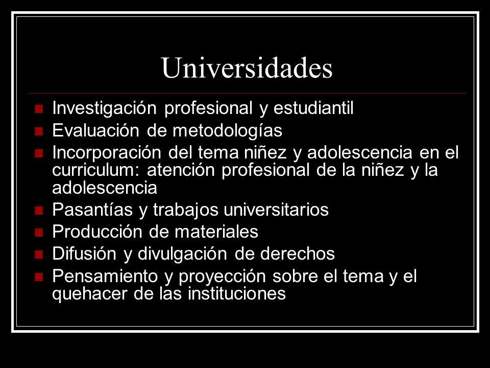 Universidades Investigación profesional y estudiantil