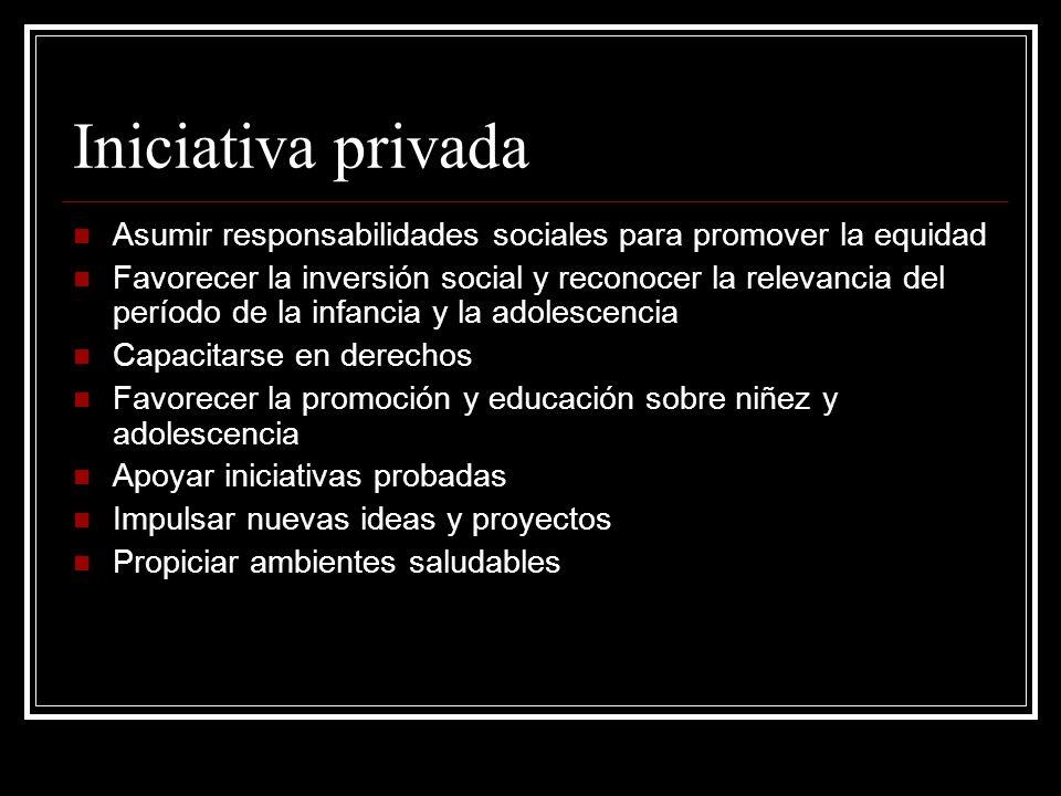 Iniciativa privada Asumir responsabilidades sociales para promover la equidad.