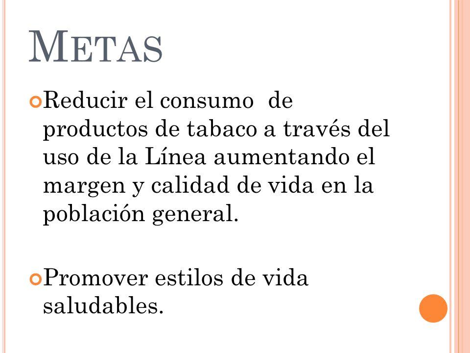Metas Reducir el consumo de productos de tabaco a través del uso de la Línea aumentando el margen y calidad de vida en la población general.