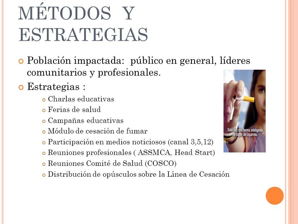 MÉTODOS Y ESTRATEGIAS Población impactada: público en general, líderes comunitarios y profesionales.