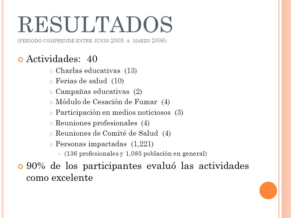 RESULTADOS (periodo comprende entre junio 2005 a marzo 2006)