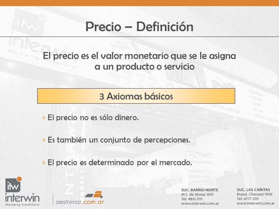 Precio – Definición El precio es el valor monetario que se le asigna a un producto o servicio. 3 Axiomas básicos.