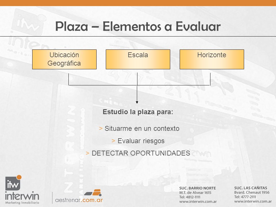Plaza – Elementos a Evaluar