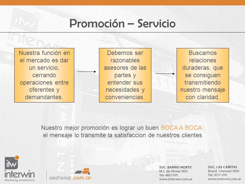 Promoción – Servicio Nuestra función en el mercado es dar un servicio, cerrando operaciones entre oferentes y demandantes.