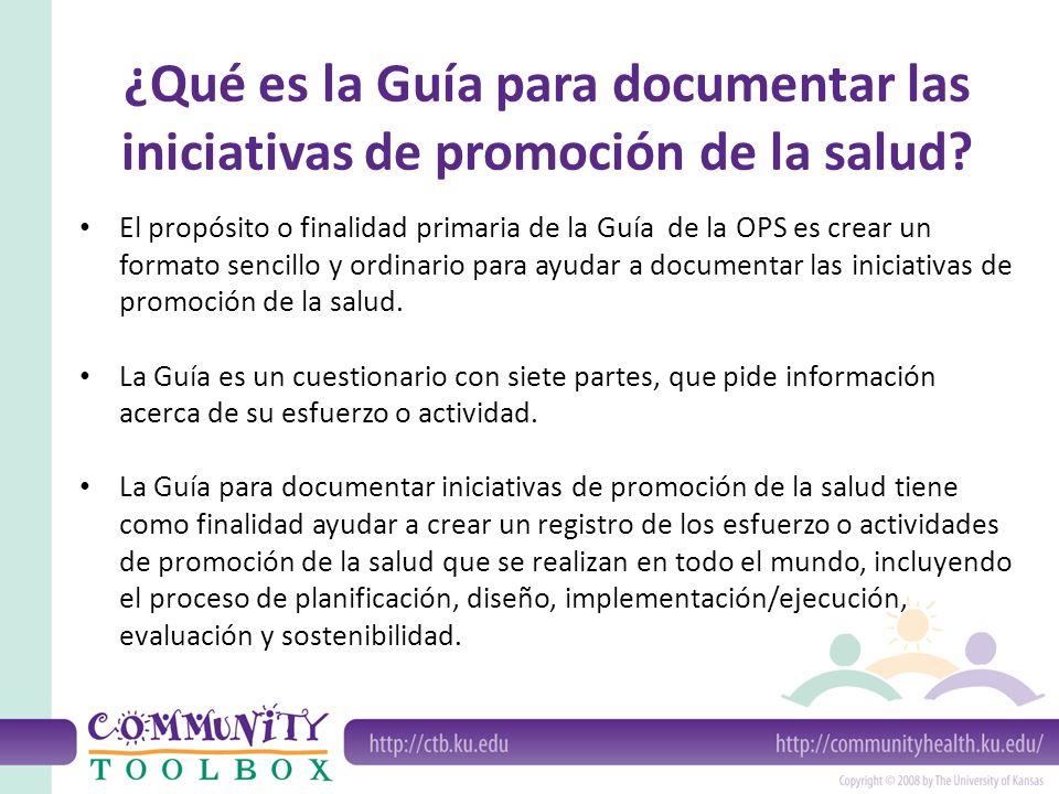 ¿Qué es la Guía para documentar las iniciativas de promoción de la salud