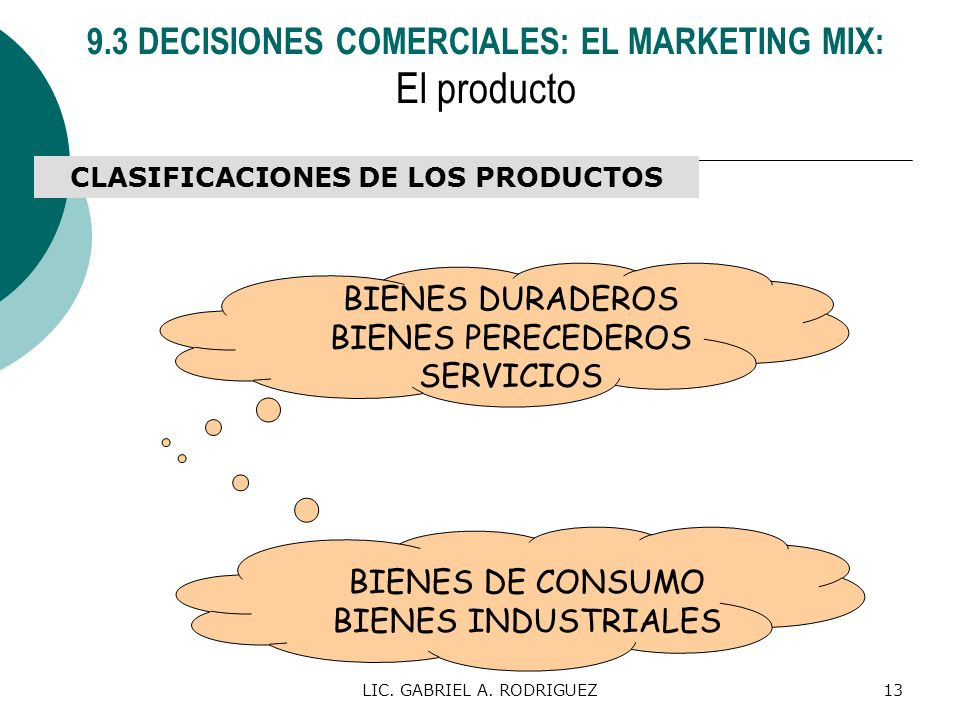 El producto 9.3 DECISIONES COMERCIALES: EL MARKETING MIX: