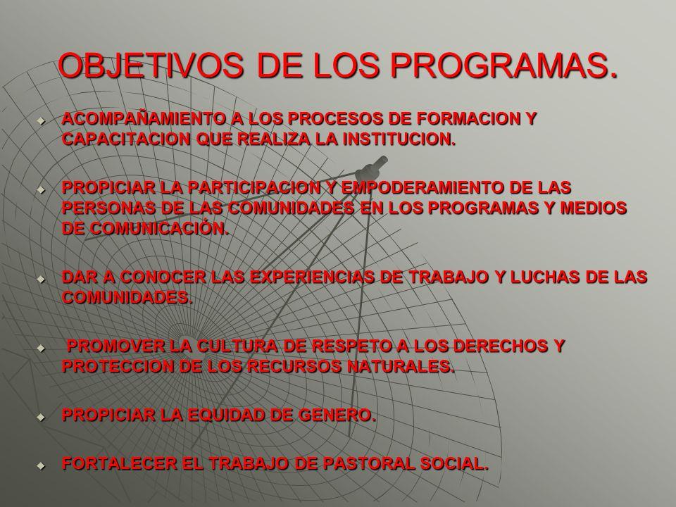 OBJETIVOS DE LOS PROGRAMAS.
