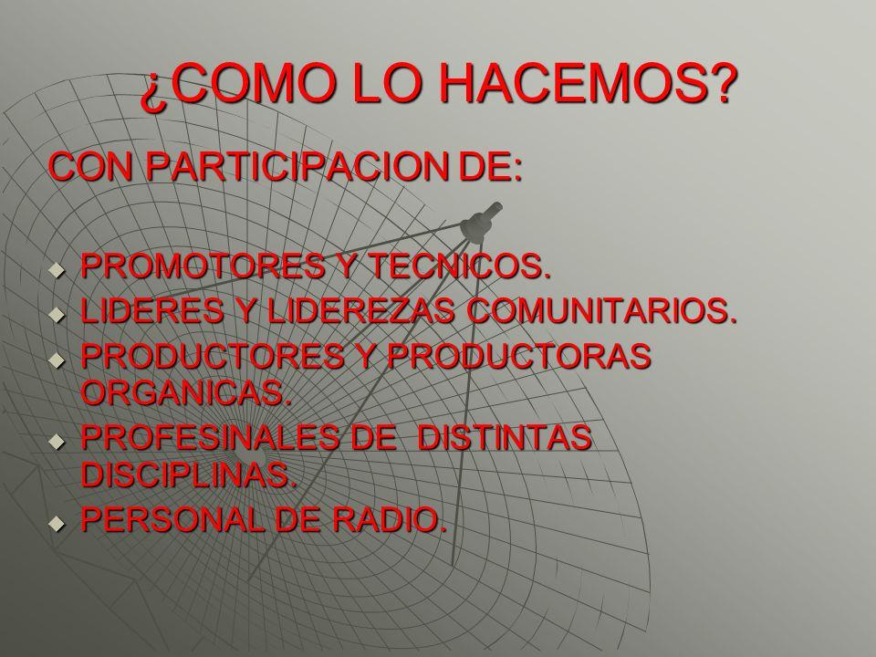 ¿COMO LO HACEMOS CON PARTICIPACION DE: PROMOTORES Y TECNICOS.