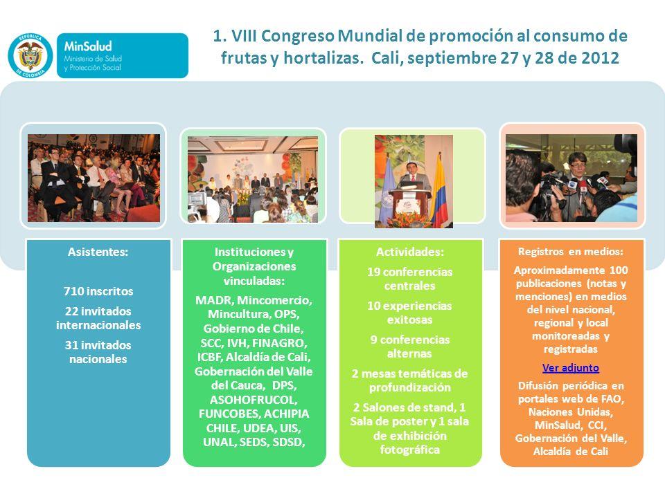 1. VIII Congreso Mundial de promoción al consumo de frutas y hortalizas. Cali, septiembre 27 y 28 de 2012